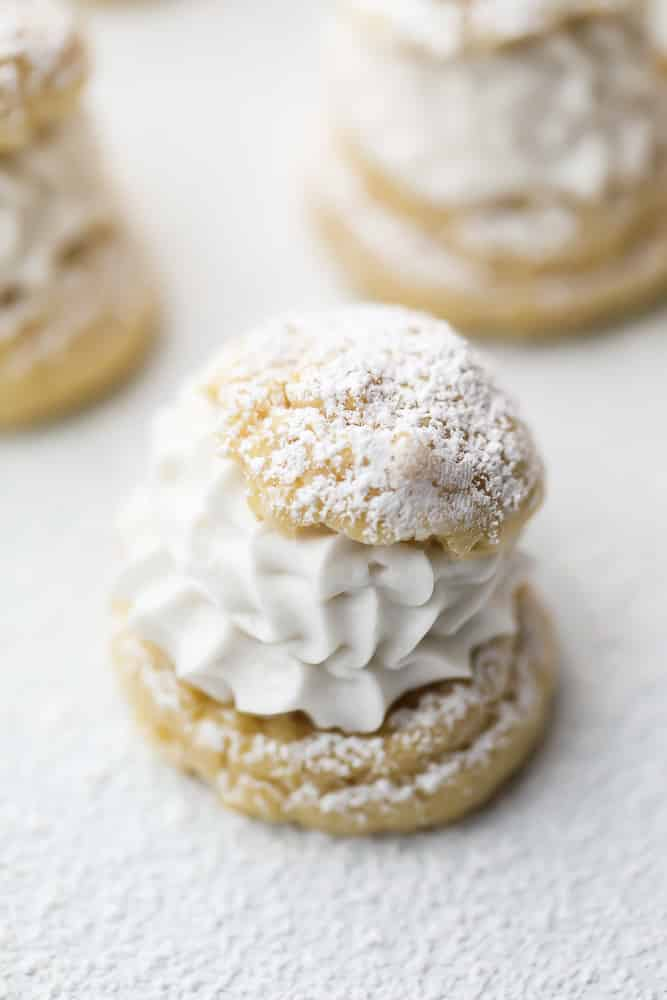 vegan cream puffs, white background