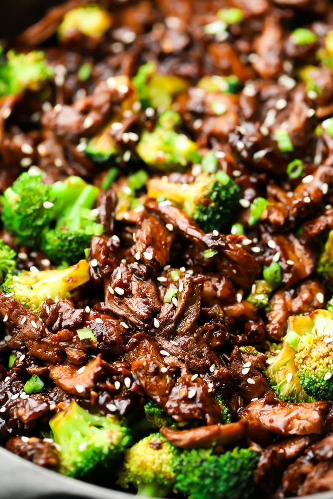 close up of soy curls and broccoli in pan