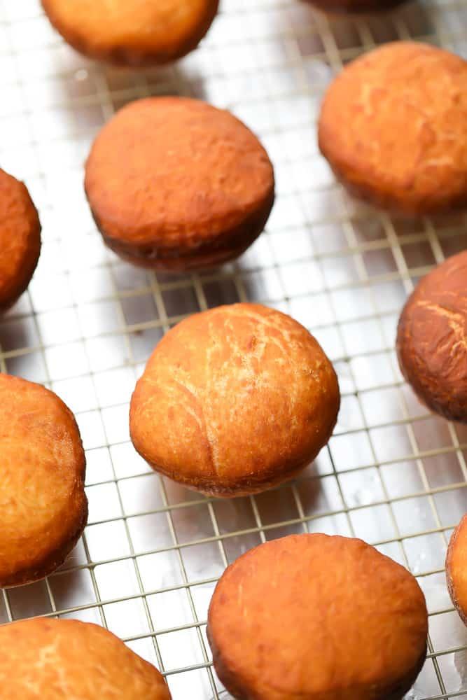 many fried round donuts