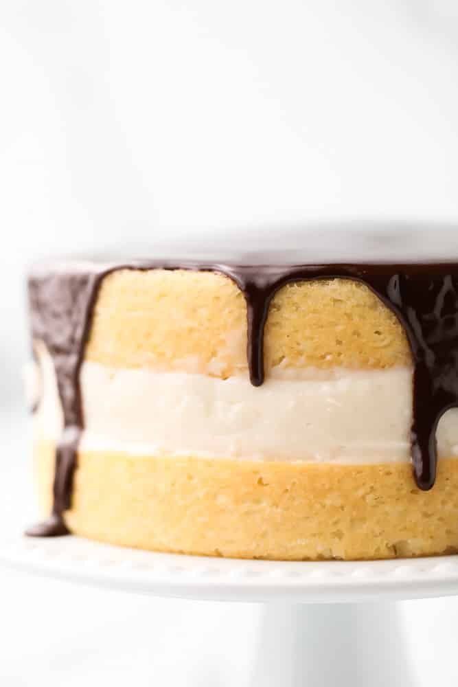 close up of boston cream pie with marble white background