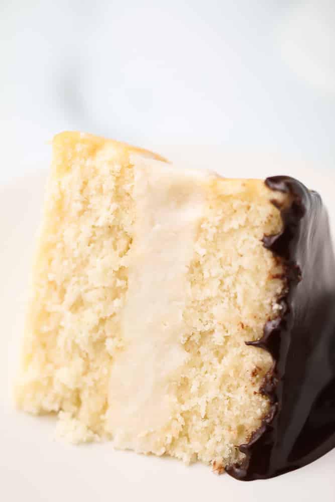 piece of boston cream pie on a plate