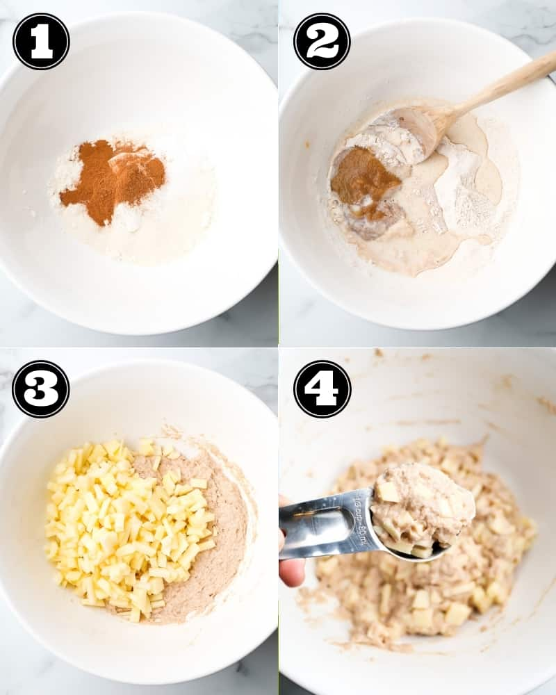collage of how to make fried donuts, step by step