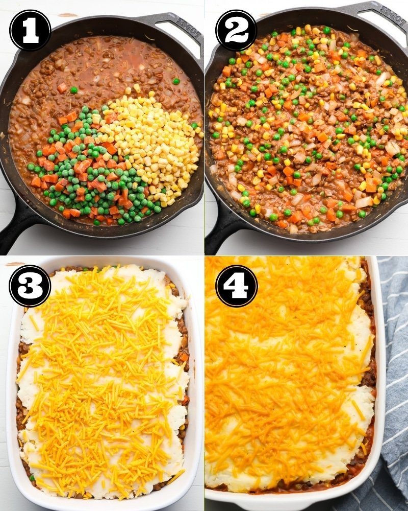 collage of how to make lentil shepherd's pie step by step