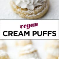 Pinterest collage with text for vegan cream puffs