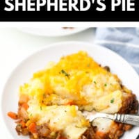 pinterest image with text of cheesy shepherds pie