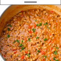 Pinterest image with text box for black eyed peas that are also vegan
