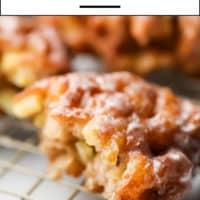 Pinterest collage with text of apple fritters