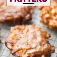 fritters on rack, text box