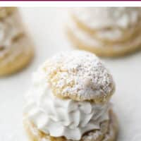 pinterest image with photo of cream puffs, vegan