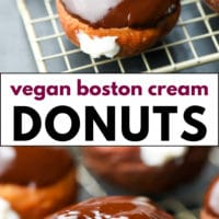 Pinterest collage with text of cream filled donuts