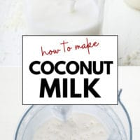 Pinterest collage with text of how to make milk out of coconut