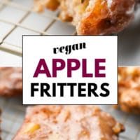 Pinterest collage with text of vegan apple fritter