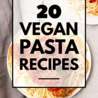 pinterest image with text for vegan pasta recipes