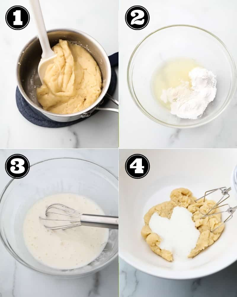 collage of how to make choux pastry, step by step