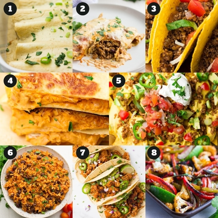 8 photo collage of vegan recipes, mexican recipes.
