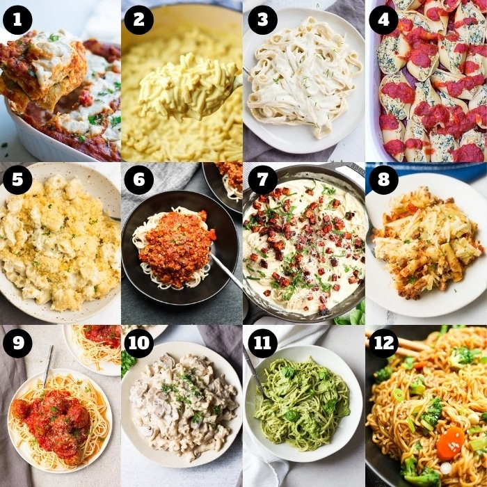 12 photo collage of pasta dishes