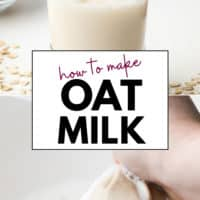 Pinterest collage with text for how to make milk out of oatmeal