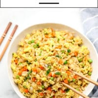 Pinterest collage with text for fried rice made vegan