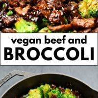 Pinterest image with text of beef and broccoli, vegan