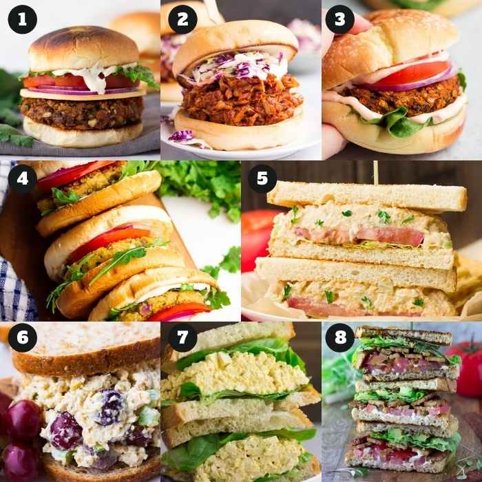 8 collage of vegan burgers and sandwiches
