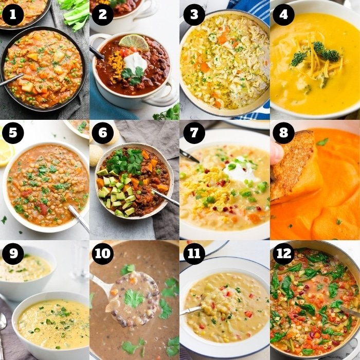12 photo collage of vegan soup and stews