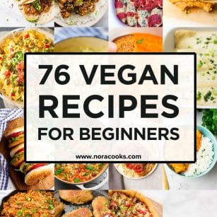 square image with text box for 76 vegan recipes