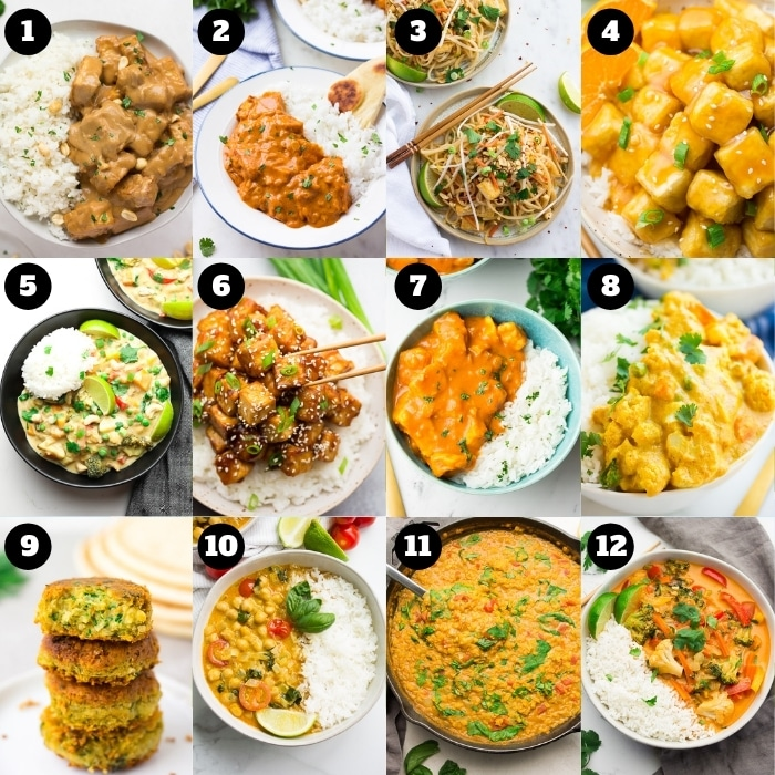 collage of 12 take out vegan recipes