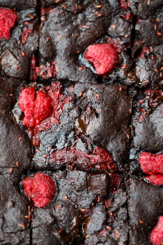 close up of raspberry brownies from top down