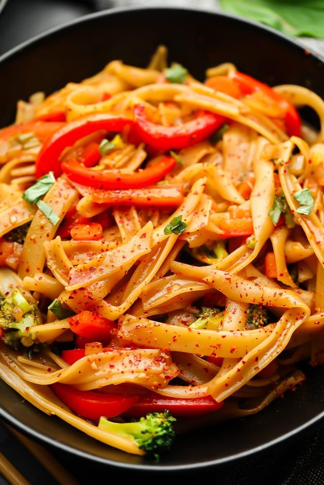 close up of a bowl of drunken Thai noodles