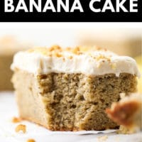 Pinterest collage with text box for banana cake made vegan