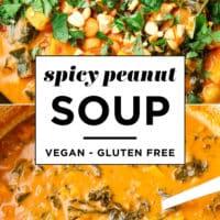 close up pinterest image of orange peanut soup