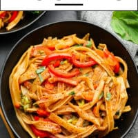 Pinterest collage with text box reading drunken noodles that are easy to make