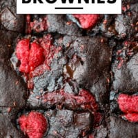 Pinterest image with text box for vegan raspberry brownies