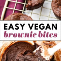 Pinterest image with text box for vegan brownie bites