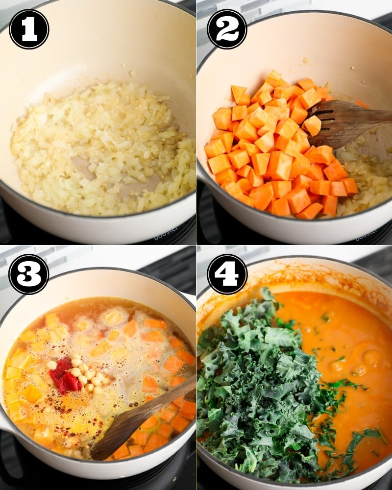 4 images showing the process of making soup with sweet potatoes and peanut butter