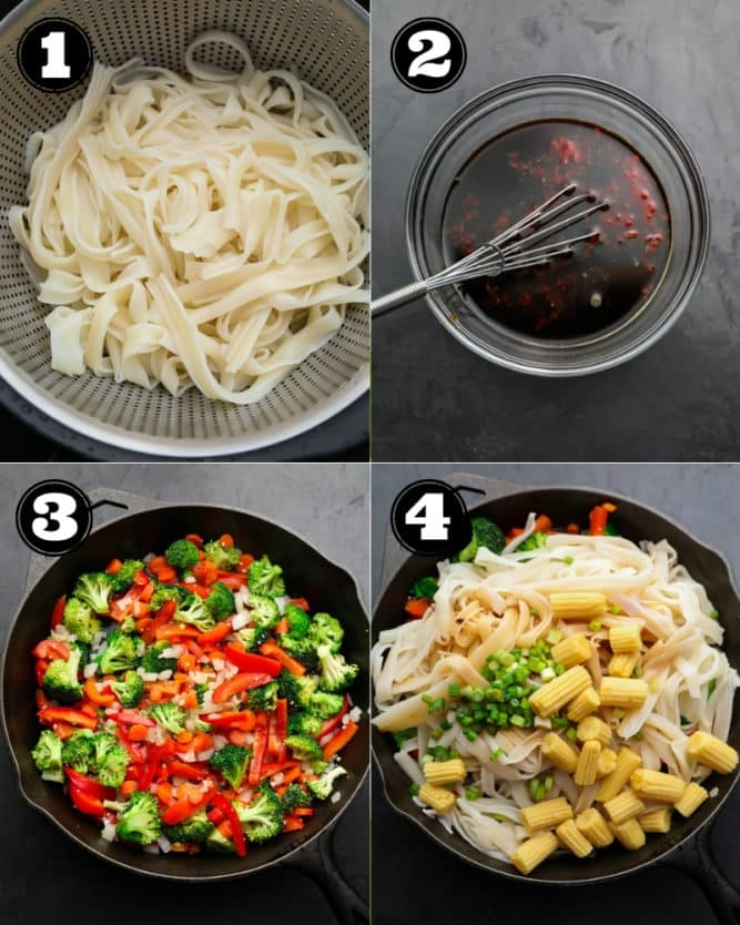 collage of how to make Thai noodles