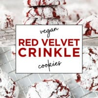 Pinterest collage with text of red velvet crinkles made vegan