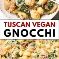 pinterest collage with text of gnocchi made vegan, tuscan creamy style.