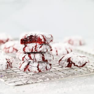 square image of a red crinkly cookie