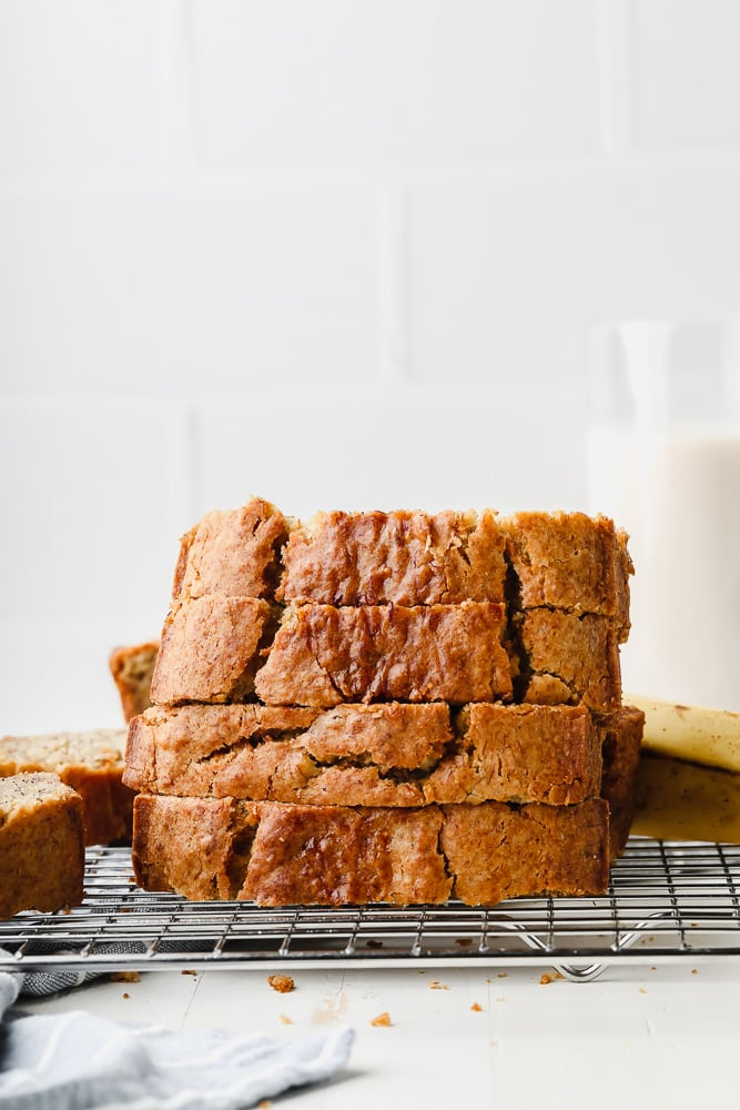 slices of banana bread on a cooling rack