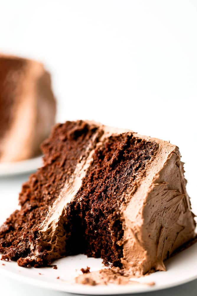 slice of chocolate cake with a bite out of it