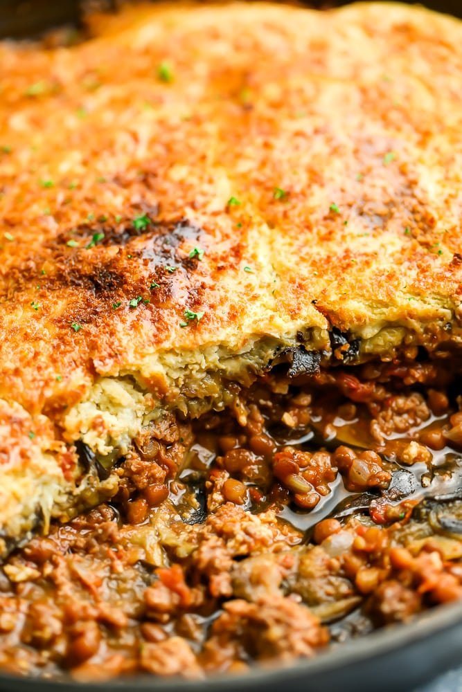 close up of vegan moussaka in a baking dish