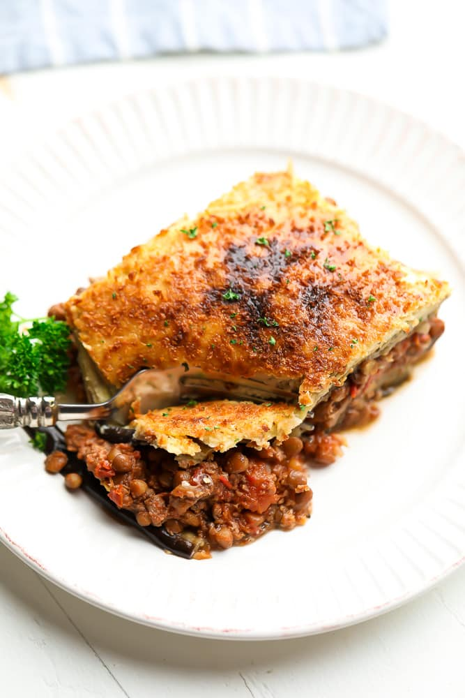 slice of moussaka on a white plate