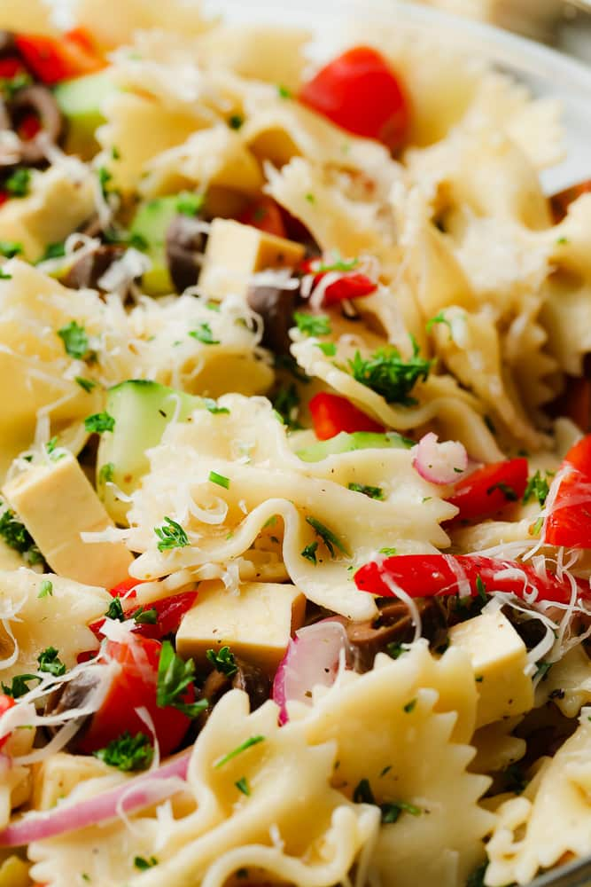 close up on a pasta salad in a bowl
