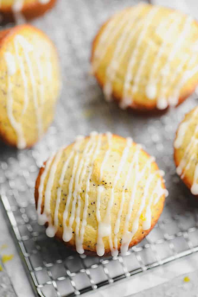 looking down on a close up of a yellowish muffin with glaze