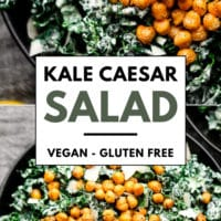pinterest image of a kale caesar salad in a bowl