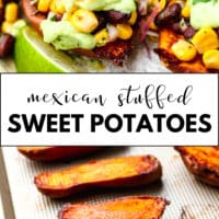 Pinterest collage with text for mexican stuffed sweet potatoes