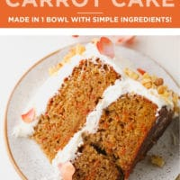 Pinterest collage with text for vegan carrot cake