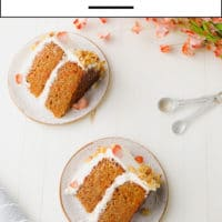 Pinterest collage with text for carrot cake made vegan