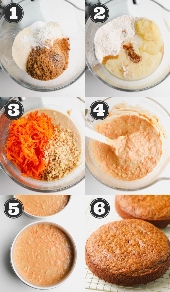 collage showing how to make a carrot cake step by step
